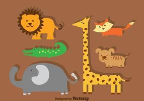 Djur tecknade uppsättningar vektor