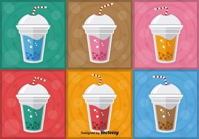 Färgglada Bubble Tea Vectors
