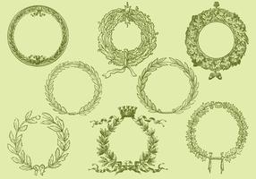 Alte Stil Zeichnung Kranz Vektoren