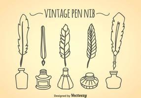 Vintage penna nib samling vektor