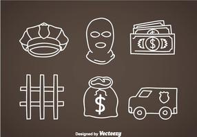 Bank-Räuber-Element-Icons
