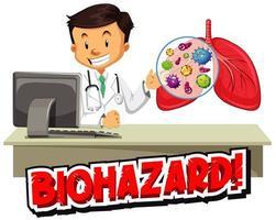 Coronavirus-Thema mit Arzt am Schreibtisch