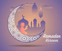 ramadan kareem hälsning med stor utsmyckad halvmåne vektor
