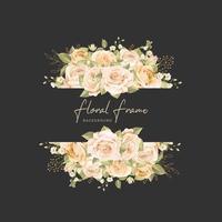 svart bröllop kort med vackra blommor och blad mall