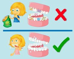 Mädchen mit schmutzigen und sauberen Zähnen vektor