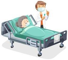 gammal kvinna sjuk i sängen