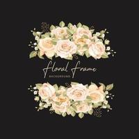 moderna svarta bröllopskort med vackra blommor och blad mall