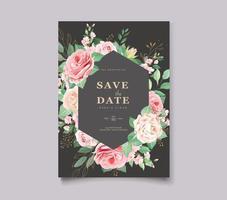geometriska eleganta bröllop kort med vackra blommor och blad mall