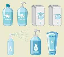 uppsättning hygienprodukter förhindrar covid-19 vektor