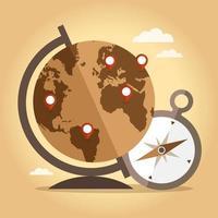 Vintage Welt und Kompass vektor
