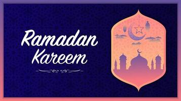 islamischer lila und rosa leuchtender Hintergrund des Ramadan Kareem vektor