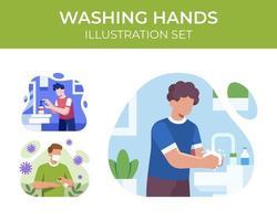 Hände waschen Szene gesetzt vektor