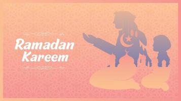 Ramadan Kareem Flat Design Rosa Orange Farbverlauf Design vektor