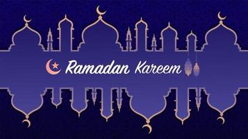 einfache Ramadan Kareem oder Eid Mubarak islamische Begrüßung vektor
