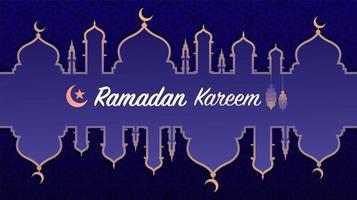 enkel ramadan kareem eller eid mubarak islamisk hälsning vektor