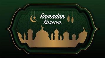 ramadan kareem grön och guld moské hälsning design vektor