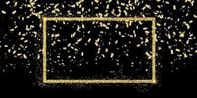 Glitzerrahmen und goldenes Konfetti vektor