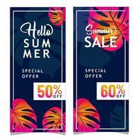 försäljning banneruppsättning för sommaren vektor
