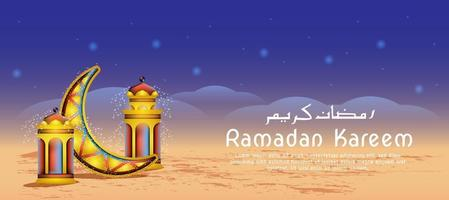Laternen- und Mond-Ramadan-Feier vektor