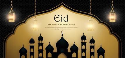 Eid Mubarak Royal Luxus Banner Hintergrund in Schwarz und Gold vektor