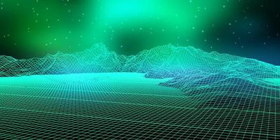 abstrakte digitale Landschaft mit Drahtmodell