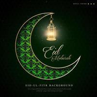grön halvmåne ramadan eid ul fitr bakgrund vektor
