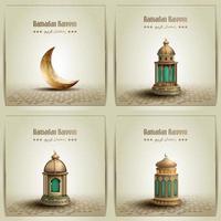 uppsättning islamiska gratulationskort vektor