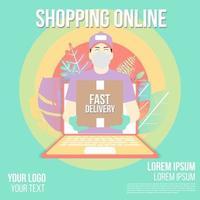 online shopping snabb leverans design vektor