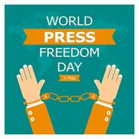Weltpressefreiheitstagplakat mit Handschellen vektor