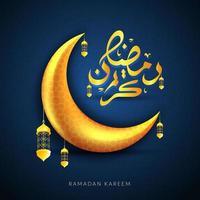 ramadan kareem guldmånen hälsning vektor