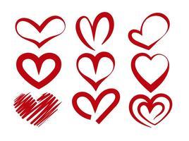 Röd vektor hjärta silhuetter