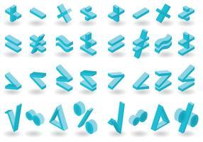 Isometrisk matte symboler vektor pack