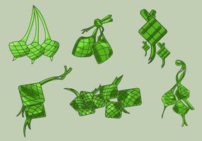 Handdragen Ketupat Vector