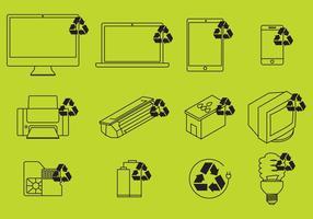Elektronische Recycling Icons Vektor