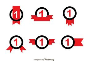 Erster Platz Ribbon Schwarz Und Rote Icons