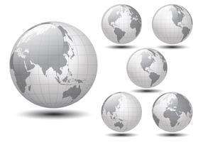 Glansig världskarta vektor