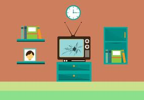 Gratis Cracked TV-skärm Vector Ilustration