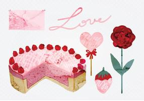 Vector Aquarell Valentinstag Elemente