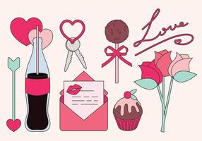Vektor Valentinstag Gegenstände