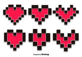 Pixelhjärtan vektoruppsättning