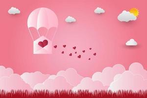 rosa Umschlag mit Herz, das über Gras fliegt vektor