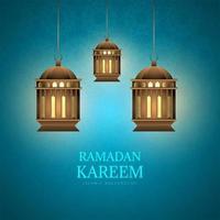 Ramadan Kareem Karte mit Laternen auf blauem Muster