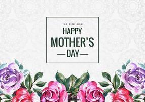 lycklig mors dag akvarell blomma kort vektor