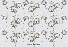 Handdragen bomullsmönster bakgrund vektor