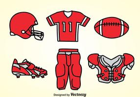 Fottball Kit Red Icons Vektor
