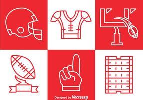 Fotbollssats Outline Icons Set Vector