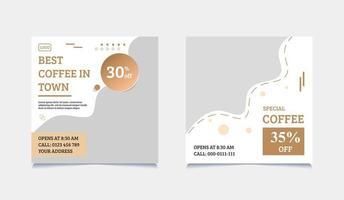 kaffe sociala medier post malluppsättning vektor
