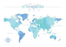 Gratis vattenfärg världskarta vektor
