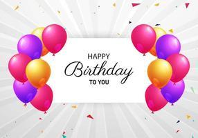 grå sunburst födelsedagbakgrund med färgglada ballonger
