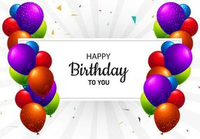 mehrfarbige Geburtstagsballons und Textrahmen